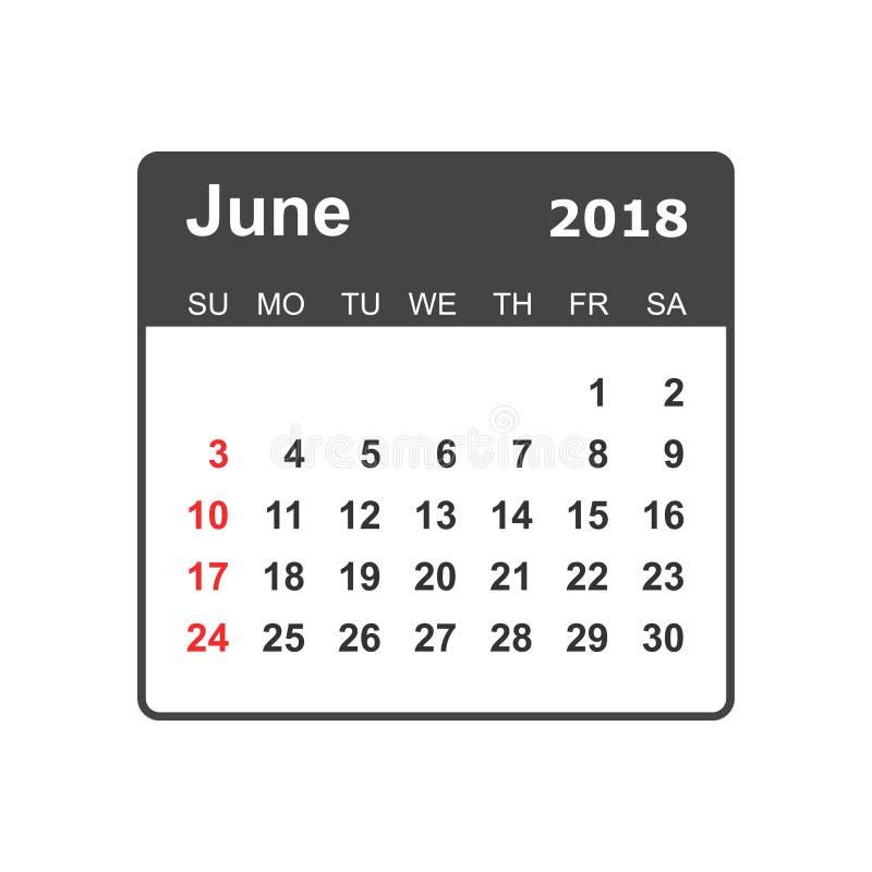 Juni 2018 kalender Mall för kalenderstadsplaneraredesign Veckastart stock illustrationer