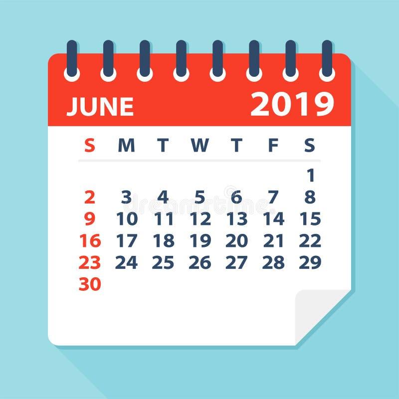 Juni 2019 kalenderblad - vektorillustration vektor illustrationer