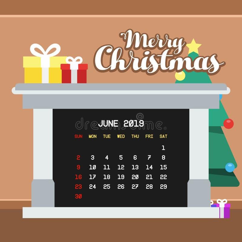Juni 2019 kalendermall vektor illustrationer