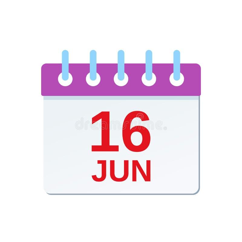 16 juni-kalenderpictogram Dit is dossier van EPS10-formaat Vector illustratie vector illustratie