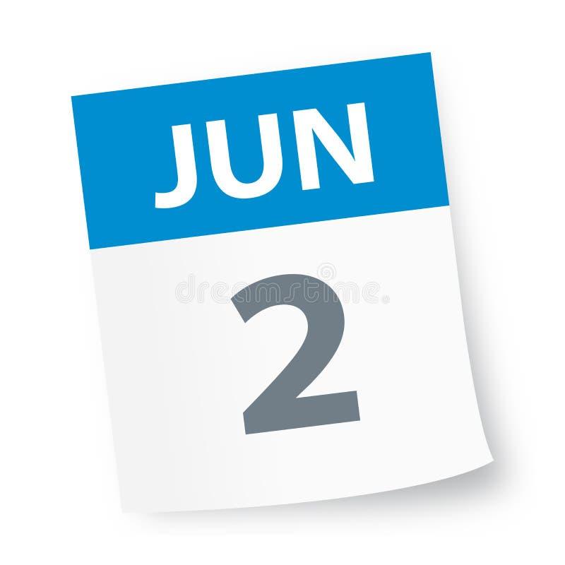 Juni 2 - kalendersymbol stock illustrationer