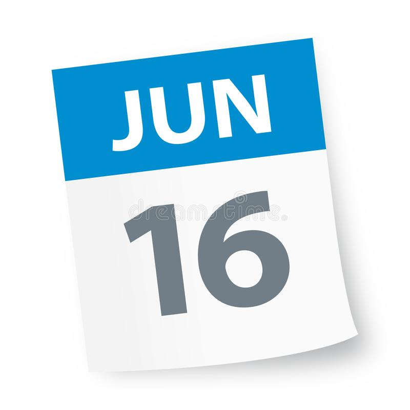 Juni 16 - kalendersymbol vektor illustrationer