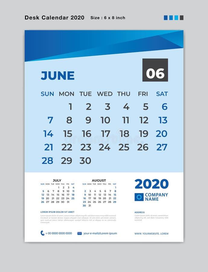Juni 2020 Monatsschablone, Tischkalender für 2020-jähriges, Wochenanfang am Sonntag, Planer, Briefpapier, blaues Konzept lizenzfreie abbildung