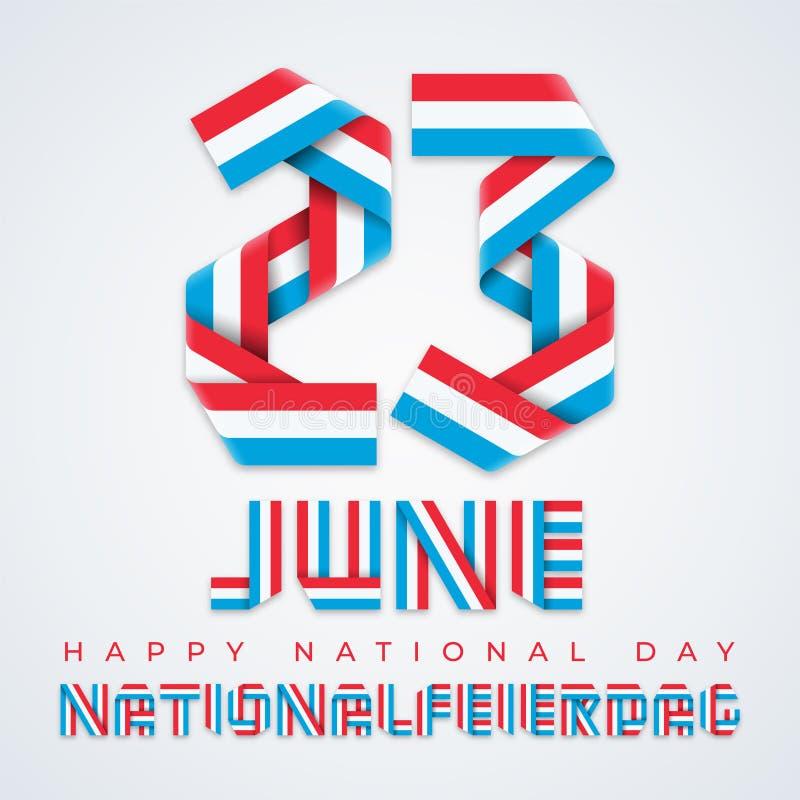 23 juni, Nationaal de Dag felicitatieontwerp van Luxemburg met Luxemburgse vlagkleuren Vector illustratie vector illustratie