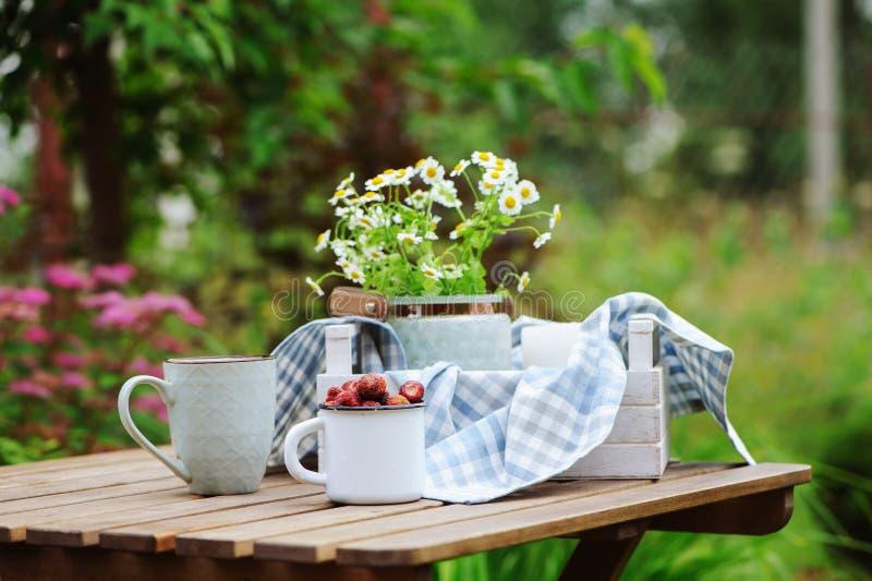Juni oder Juli-Gartenszene mit frischen ausgewählten organischen Walderdbeere- und Kamillenblumen auf dem Holztisch im Freien stockbild