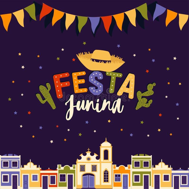 Juni-partij van Brazilië, heldere nacht de achtergrond met koloniale huizen, kerk, lichten en gekleurde vlaggen en de woorden royalty-vrije illustratie