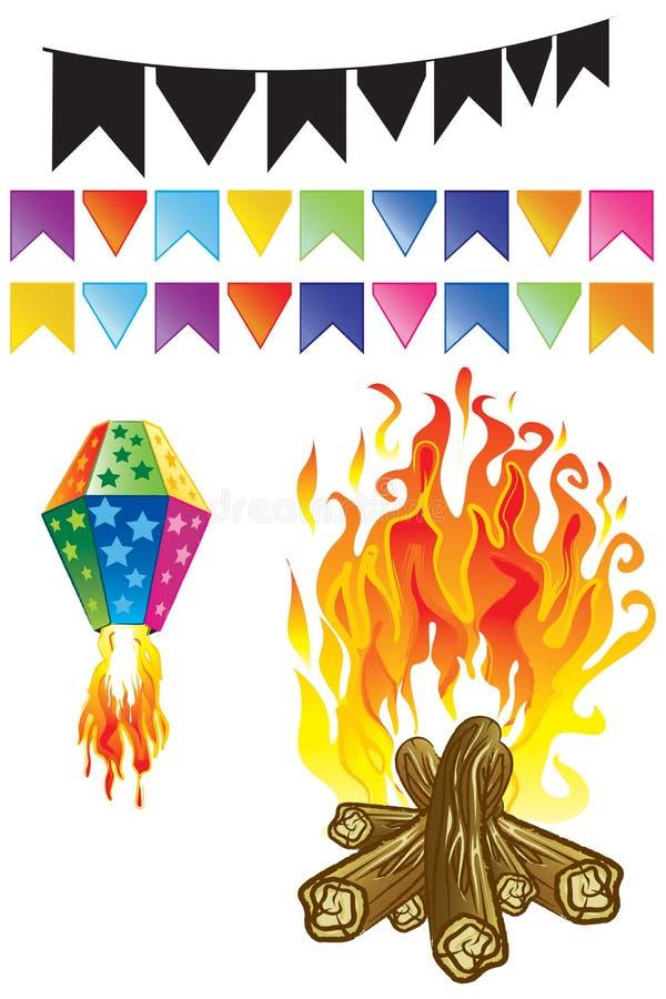 Juni-Party-Elemente lizenzfreie abbildung