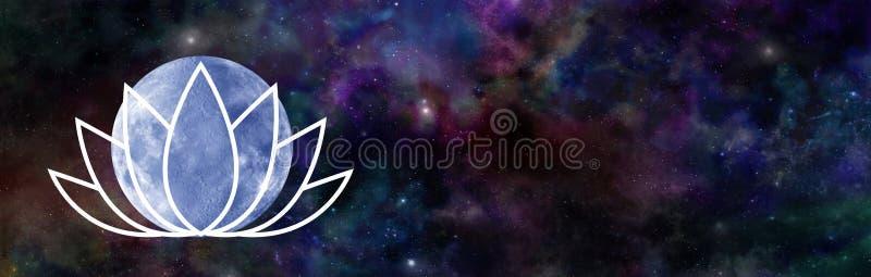 Juni ` s Lotus Moon Night Sky Banner stock illustrationer