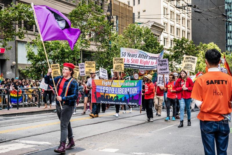 Juni 30, 2019 San Francisco/CA/USA - parti av socialism- och befrielsemedlemdeltagande på SFEN Pride Parade på marknad royaltyfri bild