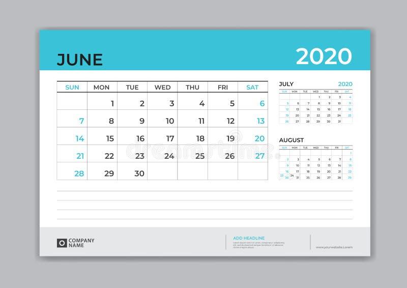 JUNI 2020 Schablone, Tischkalender für 2020-jähriges, Wochenanfang am Sonntag, Planerentwurf, Briefpapier, Geschäftsdrucken lizenzfreie abbildung