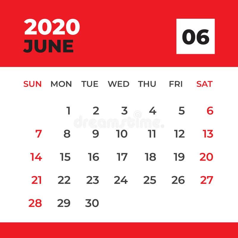 JUNI 2020 Schablone, Tischkalender f?r 2020-j?hriges, Wochenanfang am Sonntag, Planerentwurf, Briefpapier, Kalenderplanvektor vektor abbildung