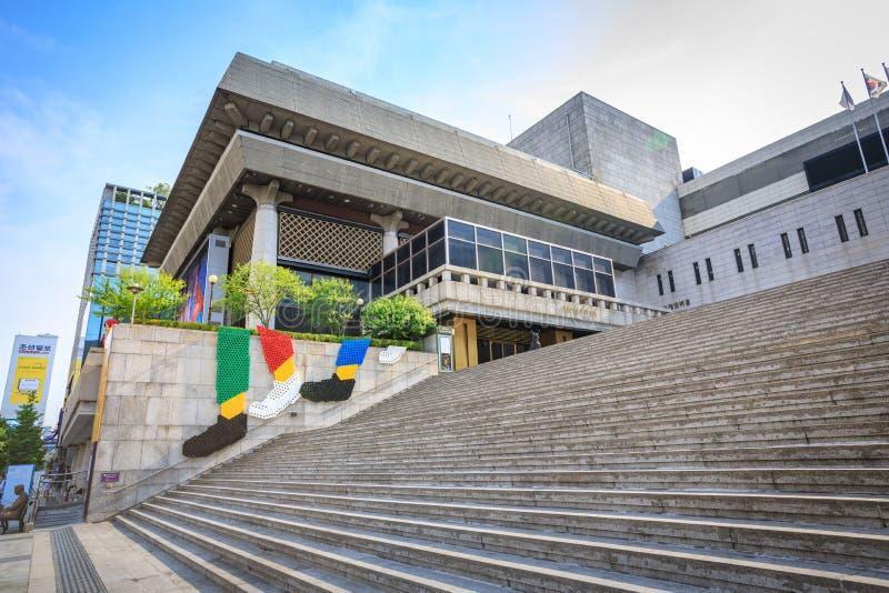 Juni 19, 2017 Sejong Cultural mitt i den Gwanghwamun fyrkanten, Seoul royaltyfria bilder