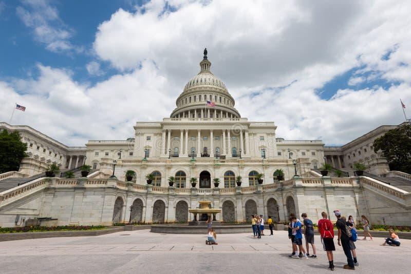 2 juni, 2018 - Singapore, Singapore: De het Capitoolbouw van Verenigde Staten, Washington DC, Verenigde Staten stock fotografie