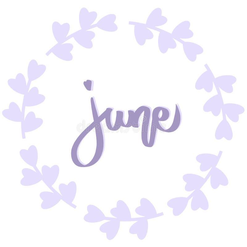 Juni-uitdrukking, purpere kroon met bloem De groetkaart van de zomer Vector ge?soleerde illustratie De violette borstelkalligrafi stock illustratie