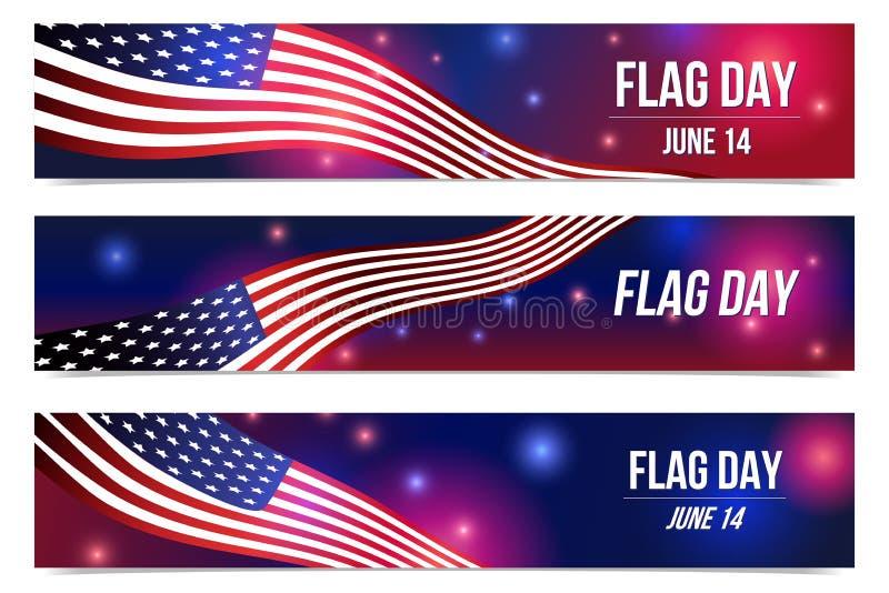 14 Juni USA flaggm?rkesdag Affisch med amerikanska flaggan och bl? bakgrund royaltyfri illustrationer