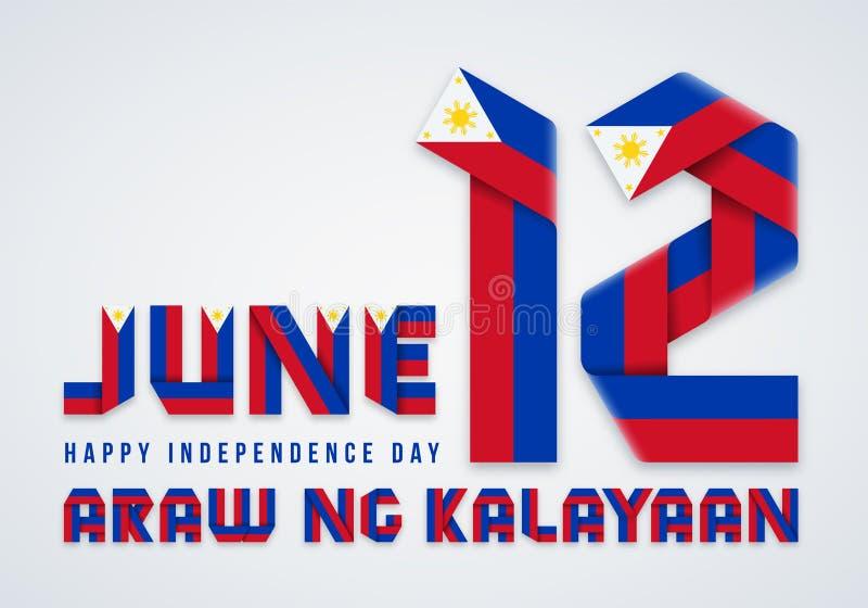 12 juni, van de de Onafhankelijkheidsdag van Filippijnen het felicitatieontwerp met Filippijnse vlagkleuren Vector illustratie stock illustratie