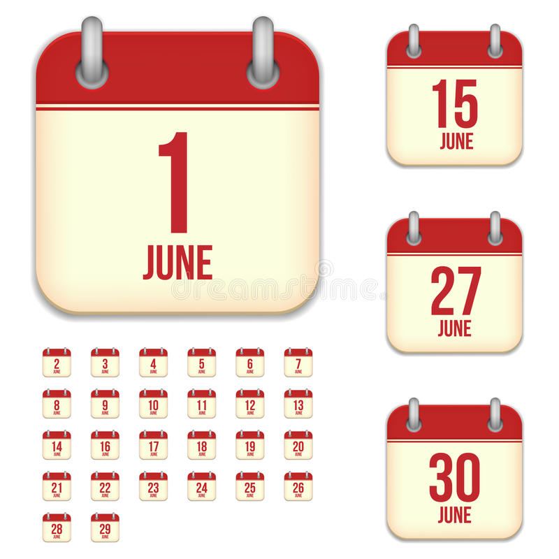 Juni-Vektorkalenderikonen vektor abbildung