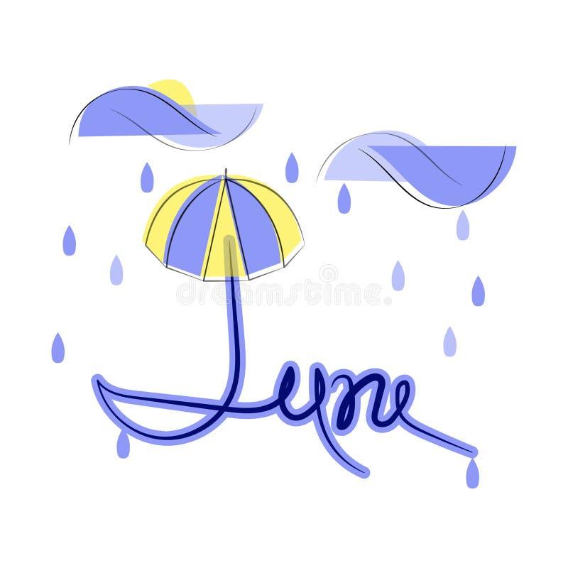 Juni, vlakke illustratie op witte achtergrond Regenachtige dag, wolken, regendruppels en paraplu Zonpiepgeluiden uit wolken stock illustratie