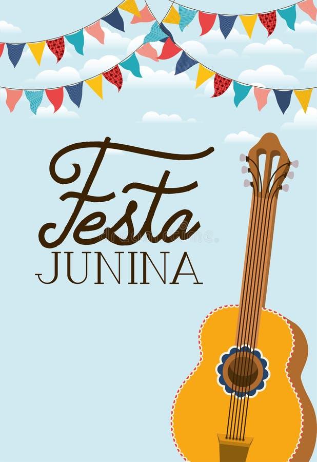 Junina de Festa avec l'instrument de guitare illustration stock