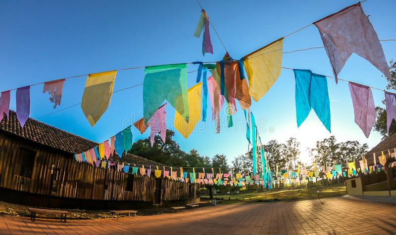 Junina fest tipical brazil party. Flag stock photography