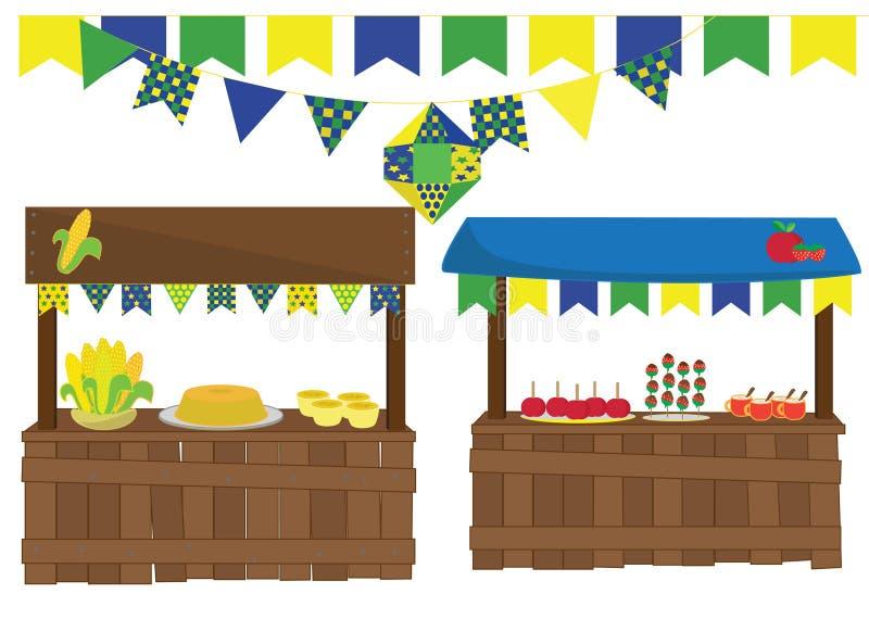 Junina festmåltid vektor illustrationer