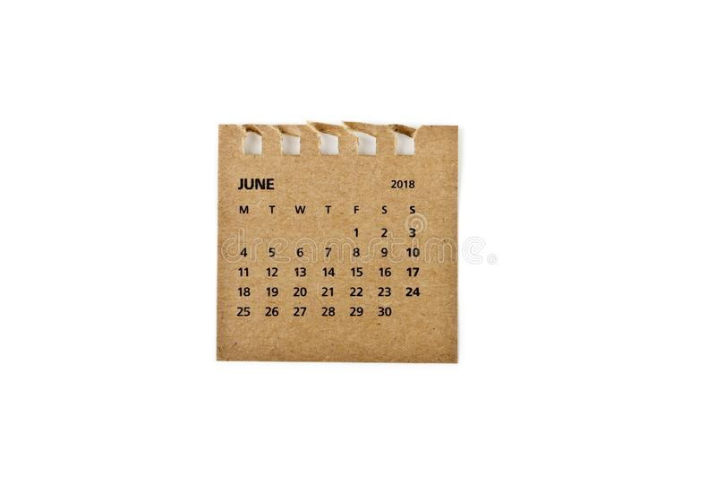 junio Hoja del calendario en blanco imagenes de archivo