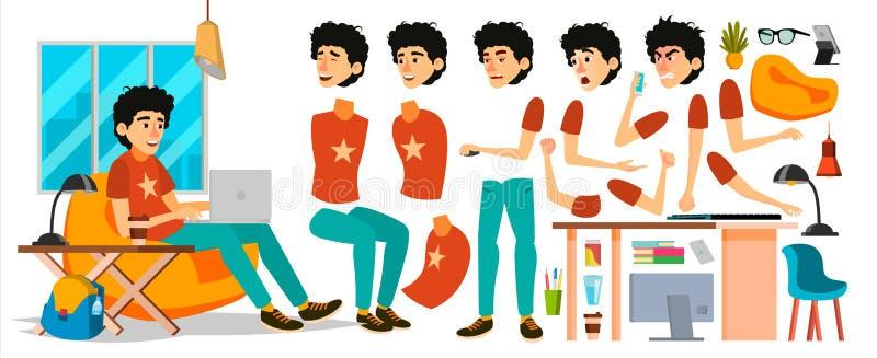 Junior Business Man Character Vector Werkend Mannetje Opstarten Jonge Codeur in Moderne Bureauwerkplaats Codage, Software royalty-vrije illustratie