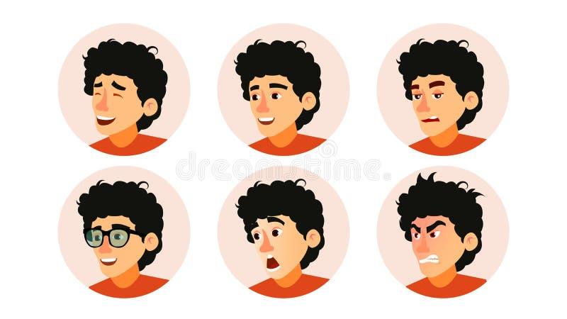 Junior Character Business People Avatar Vector. Developer Teen Man Face, Emotions Set. Creative Avatar Placeholder stock illustration