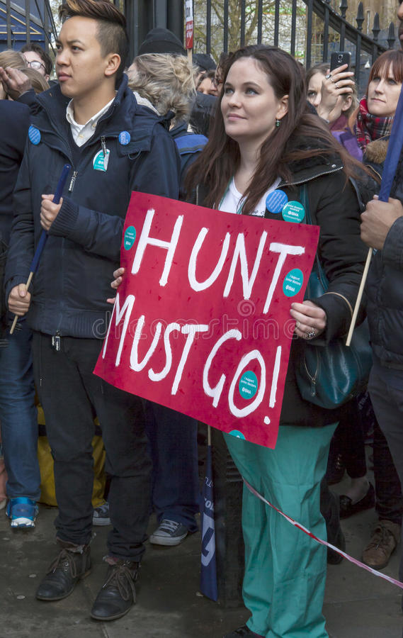 Junior Doctors March on Downing Street. The junior doctors with the support of teachers, and other unionist, marched on Downing Street this evening in their stock photography