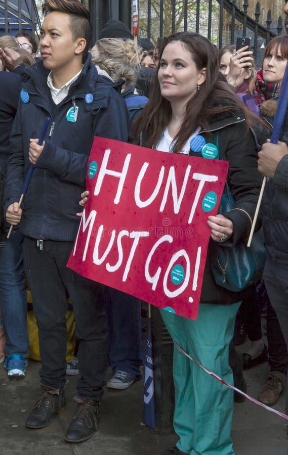 Junior Doctors March sul Downing Street fotografia stock