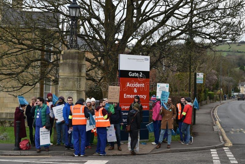 Junior Doctors Strike. BATH, UK - FEBRUARY 10, 2015: Junior doctors strike at a picket line outside the Royal United Hospital. Junior NHS doctors across the stock photo