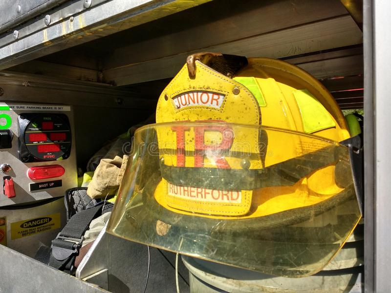 Junior Firefighter Helmet and Gear, Rutherford, NJ, USA royalty free stock photos