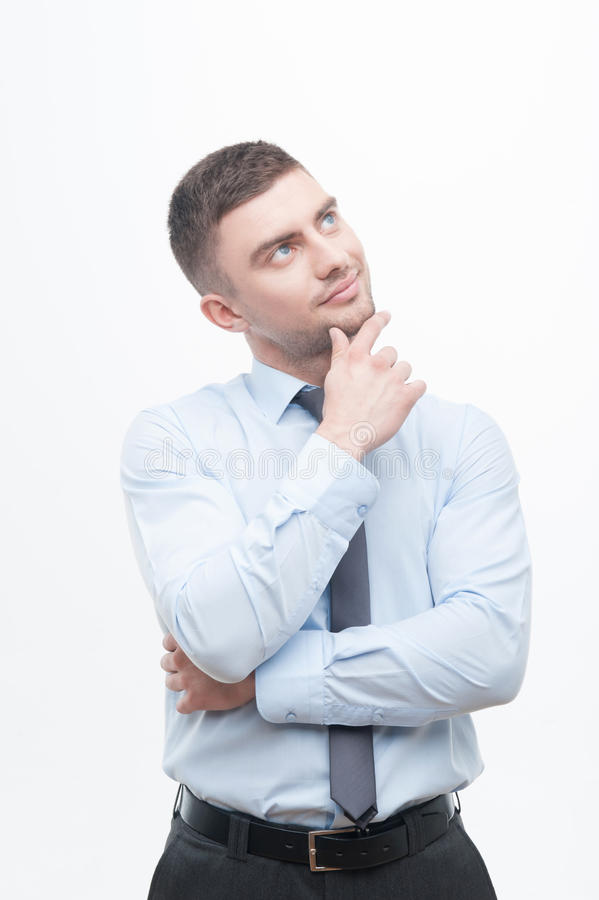 Junior handsome manager showing process of idea royalty free stock photos