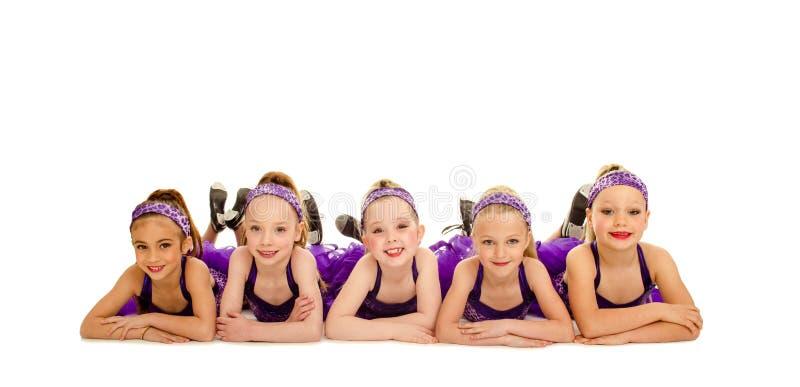 Junior Petite Tap Dance Kids grupp royaltyfria foton