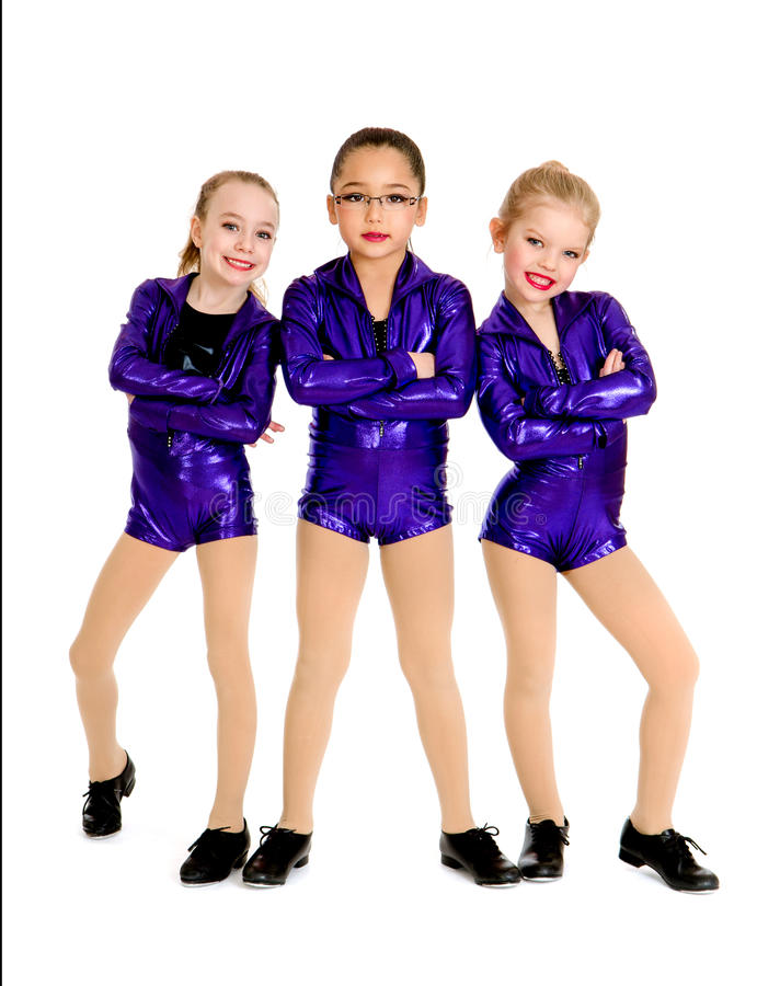 Junior Petite Tap Dance Trio arkivfoton