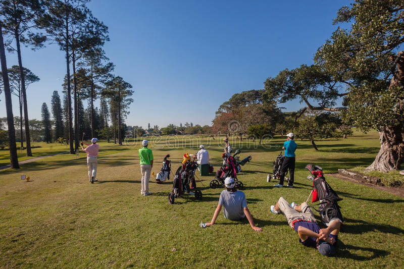 Junior Players Waiting Tee Box royalty free stock photos