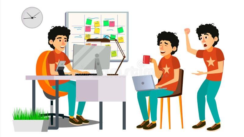Junior Programmer Character Vector. Web Developer Programming. Coding, Software Development. Javascript. Poses, Emotions royalty free illustration