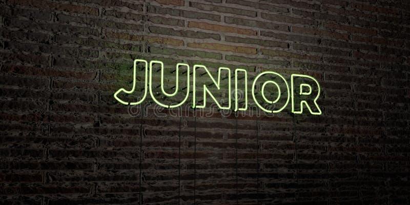 JUNIOR - Realistyczny Neonowy znak na ściana z cegieł tle - 3D odpłacający się królewskość bezpłatny akcyjny wizerunek ilustracji