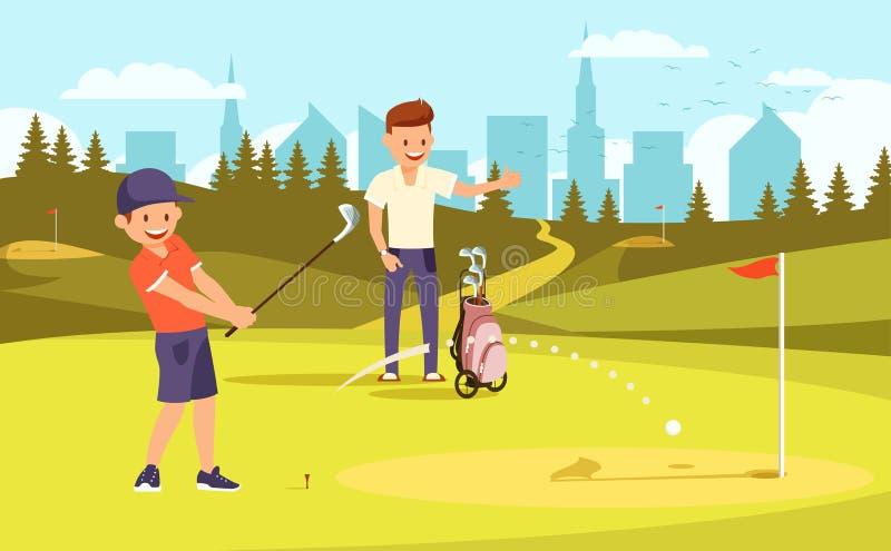 Junior Sporty Golfer Practicing no driving range ilustração stock