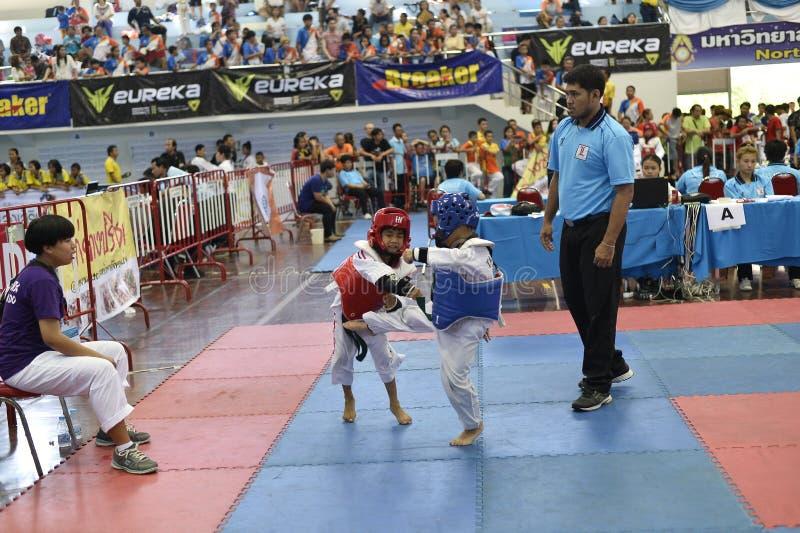Junior Taekwondo competition. A Junior Taekwondo competition 1st round , Nakon Khonkhean's game at North-Eastern University ,Khonkhean Thailand 31st May 2015 royalty free stock images