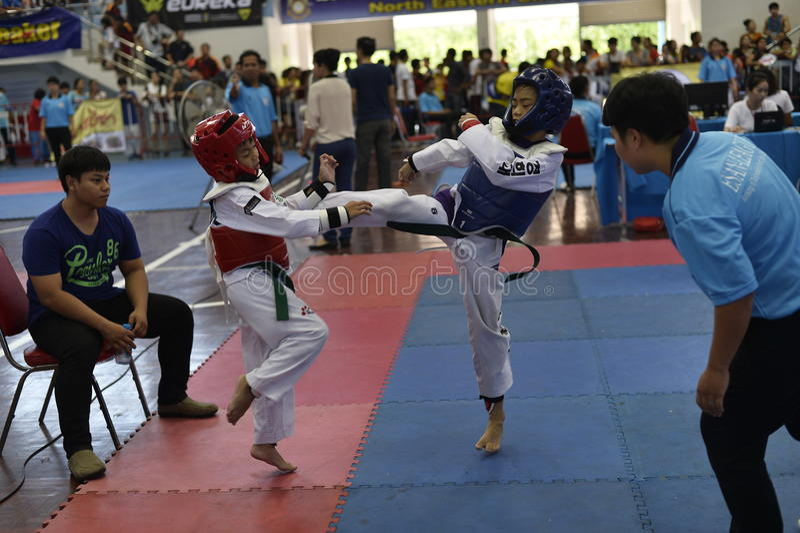Junior Taekwondo competition. A Junior Taekwondo competition 1st round , Nakon Khonkhean's game at North-Eastern University ,Khonkhean Thailand 31st May 2015 stock images