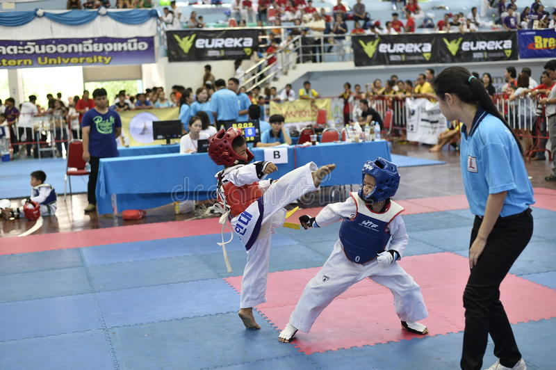 Junior Taekwondo konkurrens royaltyfri foto
