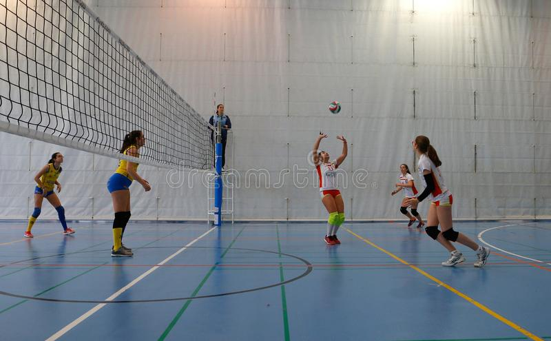 Junior volleyball women match royalty free stock image
