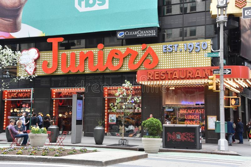 Juniors Restaurant at Times Square in Manhattan, New York stock image