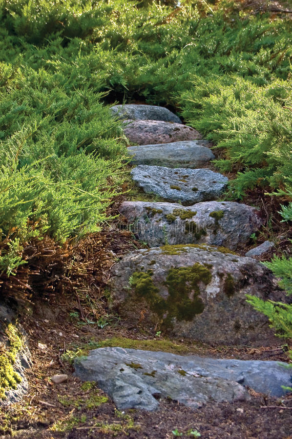 Granite Stone Pathways : Junipers granite stone pathway rock stairway path stock