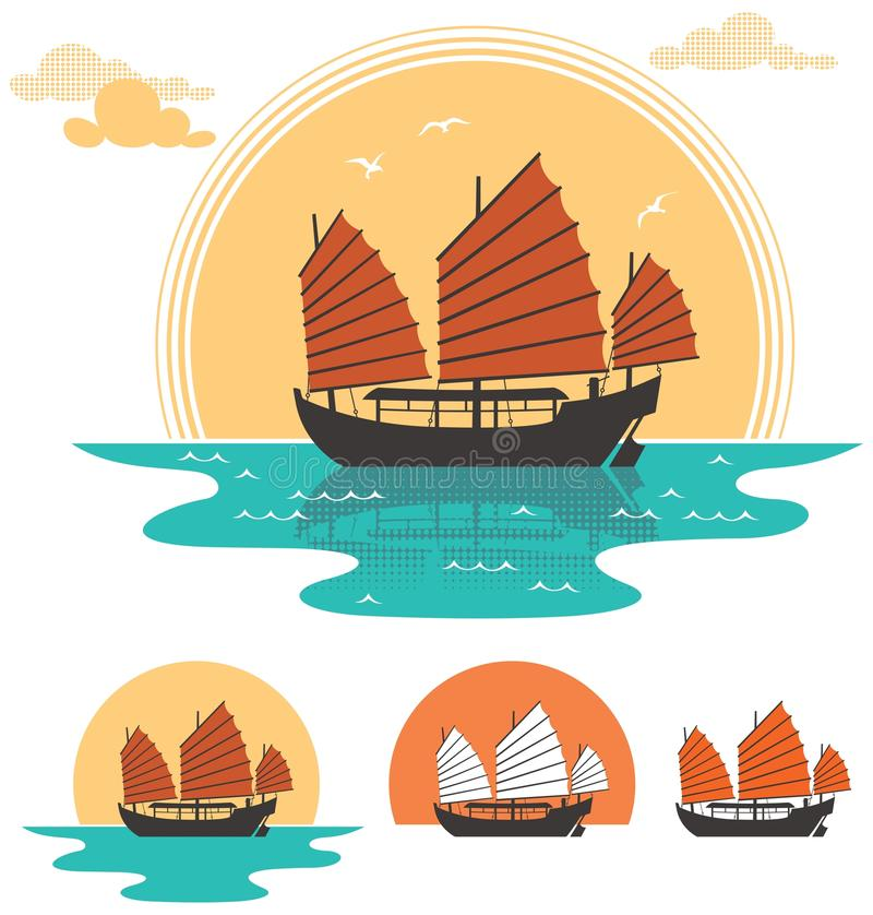 Junk Boat stock illustration
