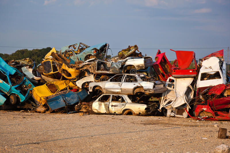 Download Junk Cars On Junkyard stock image. Image of stack, metal - 15218247