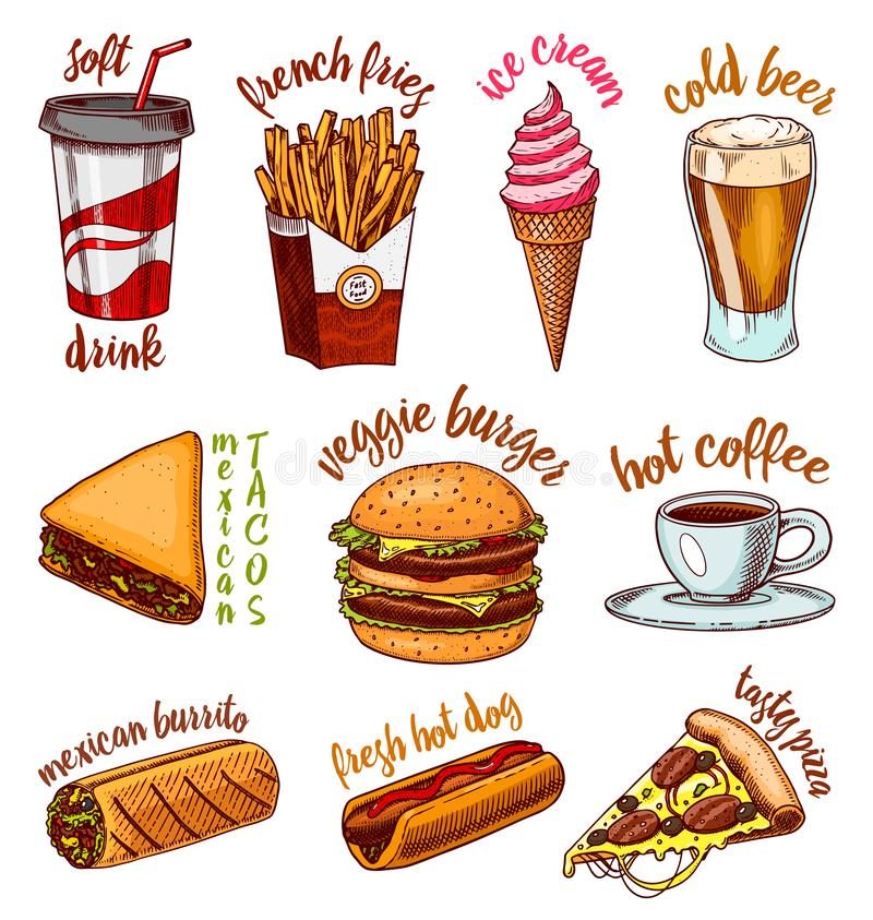 Junk Fast food, burger and hamburger, tacos and hot dog, burrito and beer, drink and ice cream. Vintage Sketch for logo vector illustration