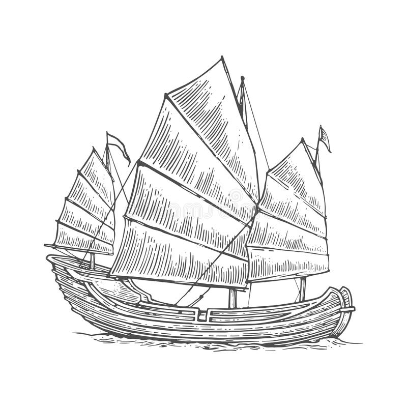Junk floating on the sea waves. Hand drawn design element sailing ship. royalty free illustration