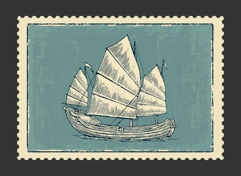 Junk floating on the sea waves. Hand drawn design element sailing ship. stock illustration